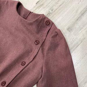 Vintage 70s 80s Button Front Secretary Midi Dress
